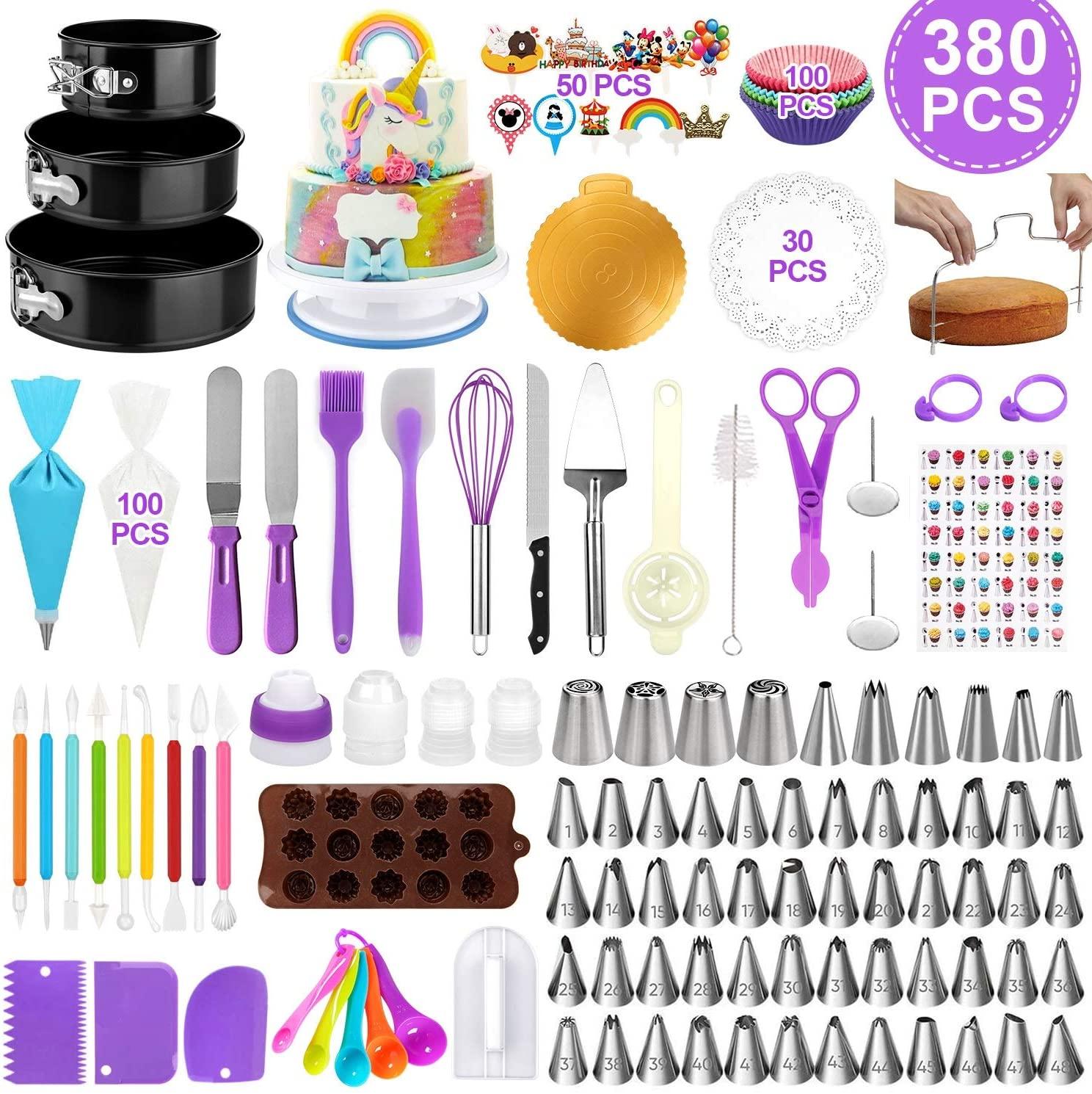 केक सजा उपकरण उच्च गुणवत्ता 380 pcs केक सजा आपूर्ति किट 12 इंच टर्नटेबल खड़े हो जाओ