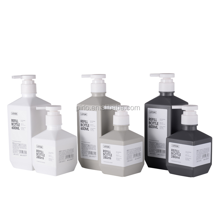 280ml 600ml square shape Lotion spray bottle for skin care plastic HDPE shampoo spray bottle