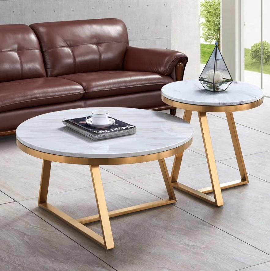 アンティークメタル大理石トップラウンドホワイトコーヒーテーブルトランクサイドテーブルブラジル収納レトロ家具