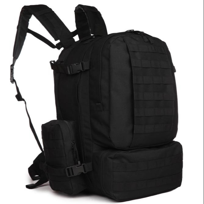 46L Outdoor Black Large Tactical Backpack 600D polyester Hydration Backpack фото