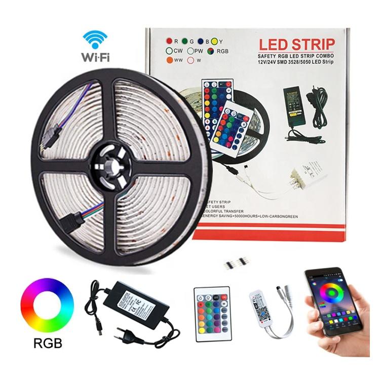 waterpoof 12v 24v 5050 rgb rgbw Smart Wifi bluetooth app controlled led strip light
