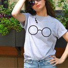 Glasses printed fashion gilr top t shirts custom print cotton slim fit t shirts wholesale lady apparel online shopping