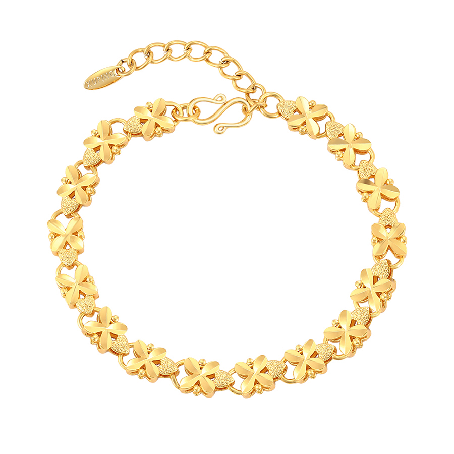 76933 xuping 2020 new arrival gold plated color heart hand chain bracelet for girls