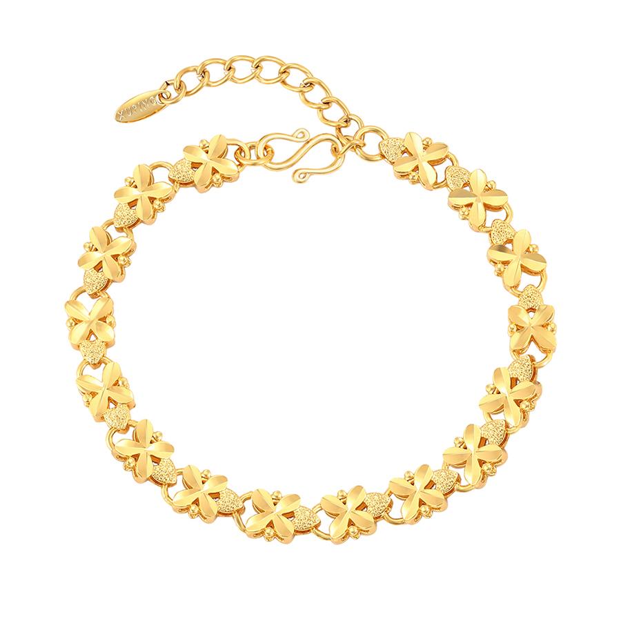 76933 xuping 2020 nova chegada banhado a ouro cor coração pulseira corrente mão para meninas