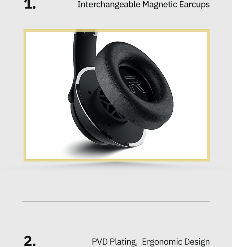 DOQAUS V9 Rotating Sound Control Flip to Powerful Speaker Stereo Over Ear Bluetooth Wireless Earphone Headphone with EQ Mode