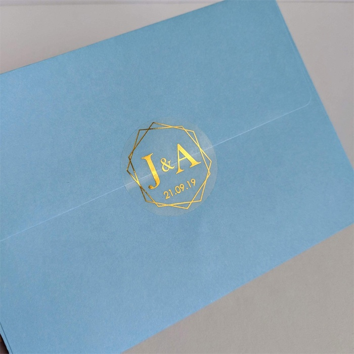 custom envelopes mail clear 2'' round seal sticker wedding private transparent hot stamping gold foil adhesive label