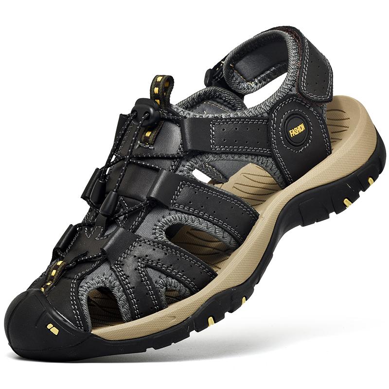 Custom Logo Mens Genuine Leather Sandals Comfortable Outdoor Beach Sandal Shoes