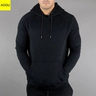 100% Cotton Custom Sports Outwear fleece Mens Black Pullover Hoodie