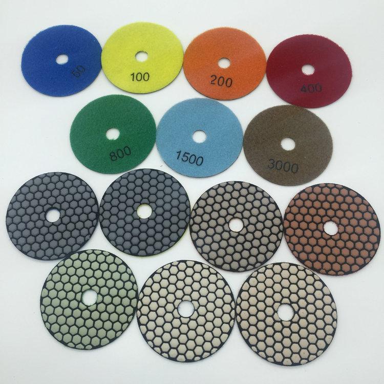 4 inch/100mm wet dry diamond polishing pad for polishing granite marble stone quartz and engineered stone 7pcs/set