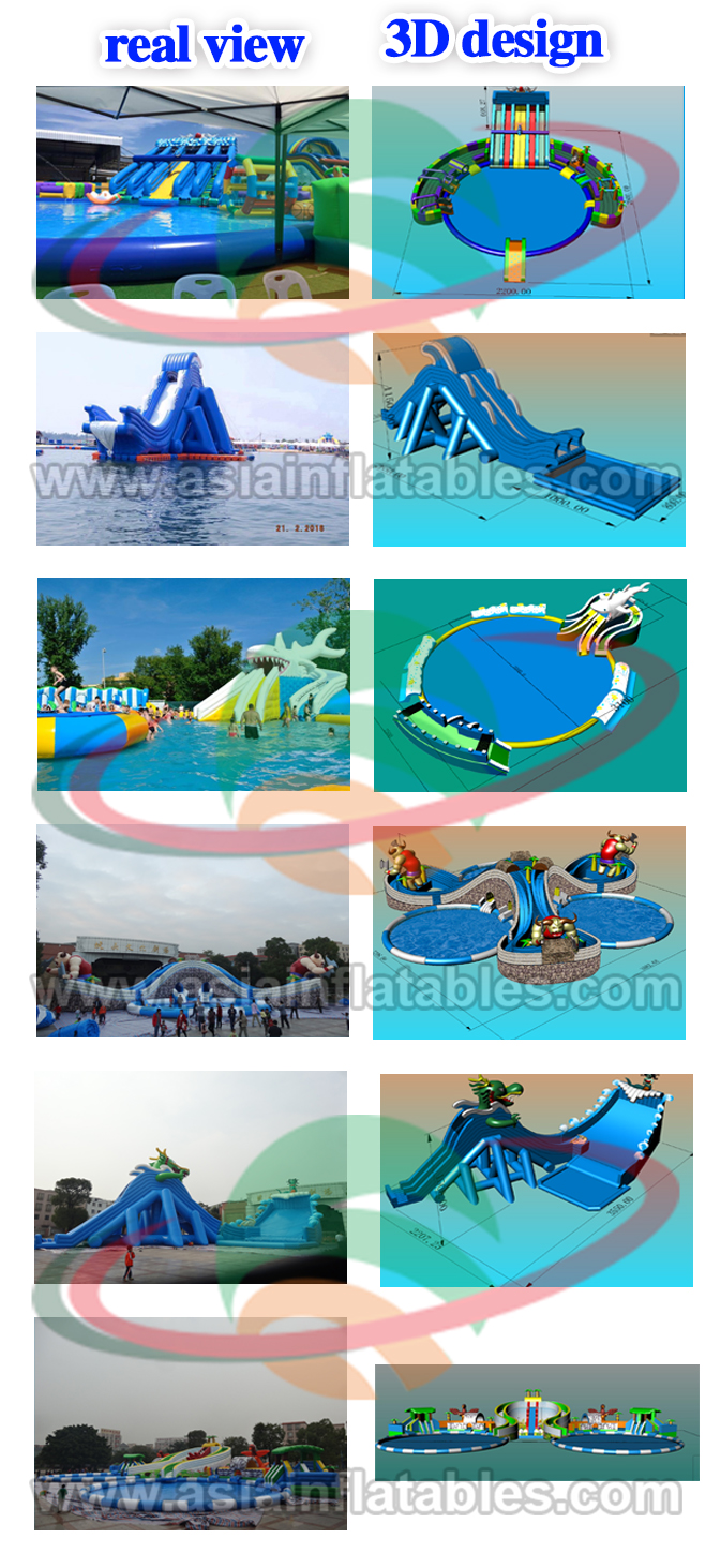 Outdoor Funny Inflatable Octopus and Shark Combo Water Slide Park for Summer
