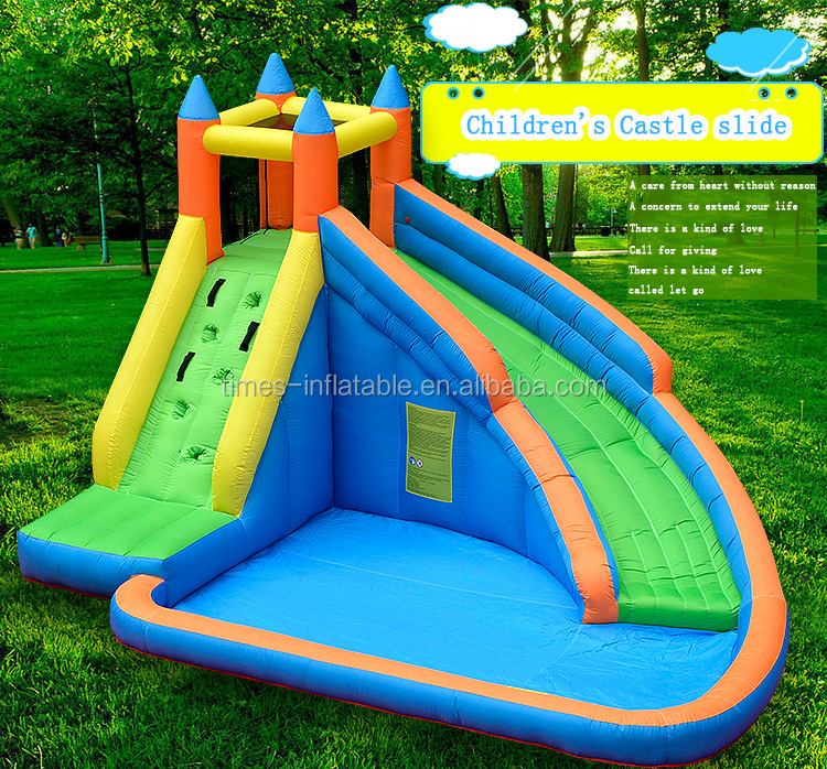 Backyard inflatable bouncy castle water slide with pool