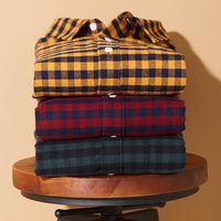 Stylish plaid shirt men's long sleeve spring cotton casual shirt red green yellow flannel check shirt thick warm men
