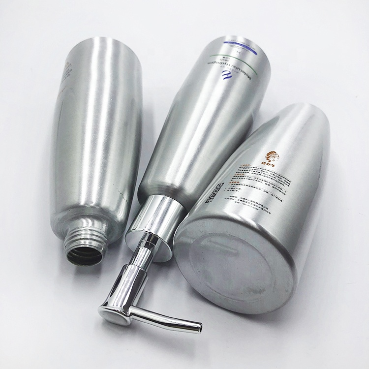 480ml aluminum cosmetic bottle for shampoo with lotion pump