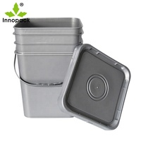 20 Liter Round Bucket Square Plastic Paint Pails with Lid For Coating