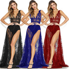 Summer Dresses Dress 2021 Summer Women Clothing Casual Dresses Sexy See-through Lace High Slit Deep V-neck Nightclub Dress Womens Sexy Dresses