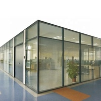 Sound proof office glass wall partition aluminum with casement door