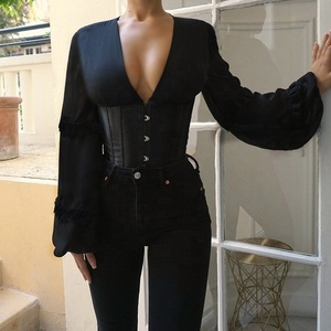 European fashion design corset lady blouse female puff  long sleeve V-Neck blouse sexy corset 2020