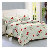 Spot stock cheap size bamboo fitted bedding sheet flower printed duvet cover set