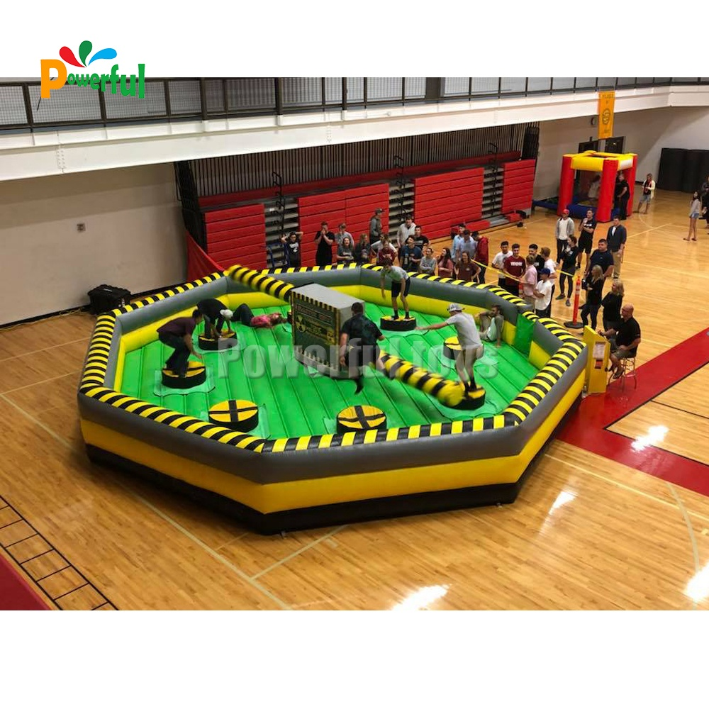 CE Approved trampoline park inflatable wipeout challenge meltdown games
