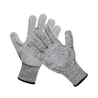 HPPE Cut Resistant Gloves with Leather on Palm