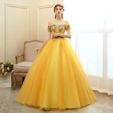 Quinceanera платья 2020 Новое роскошное Золотое бальное платье для вечеринки выпускного вечера винтажное платье De Bal Формальное милое платье(China)
