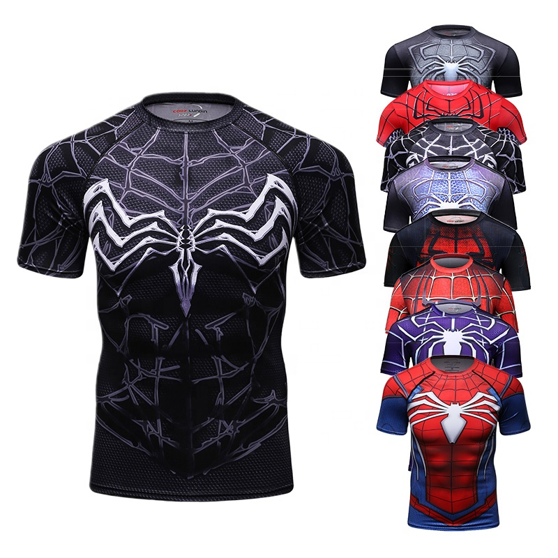 Guangzhou 2018 Polyester Spandex Sport <strong>Shirts</strong> 3D Anime Superhero Superman Captain Printed T-<strong>Shirt</strong>