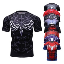 Guangzhou 2018 Polyester Spandex Sport Shirts 3D Anime Superhero Superman Captain Gedrukt <span class=keywords><strong>T-Shirt</strong></span>