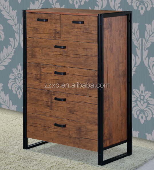 Industrial Style Wood 6-Drawers Storage Cabinet for Living Room