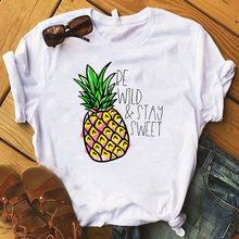 Мягкая одежда для девочек с рисунком ананаса и фруктов, летняя одежда для женщин, хиппи, Белый Топ, летняя уличная одежда, женская летняя оде...(China)