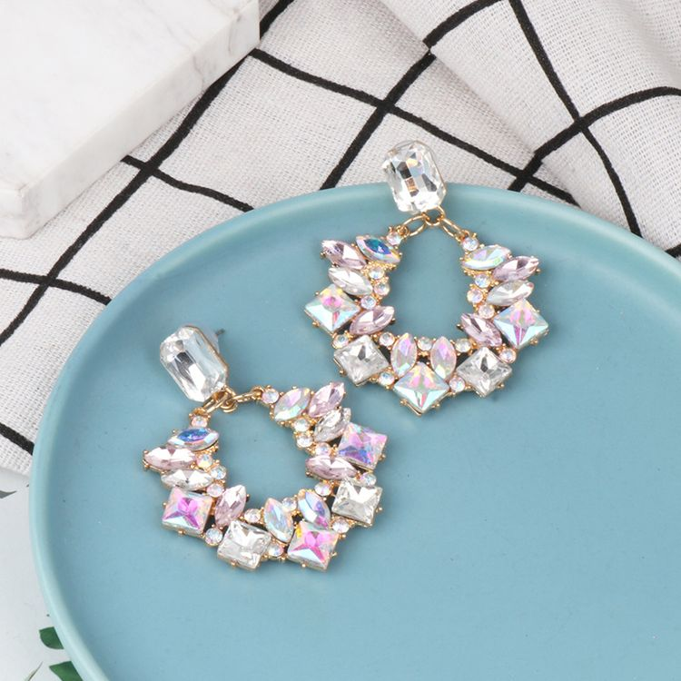 Fashion Hollow Circle Diamond Statement Geometric AB Color Earrings Flowers Women Multi Colored Hoop Dangle Earrings
