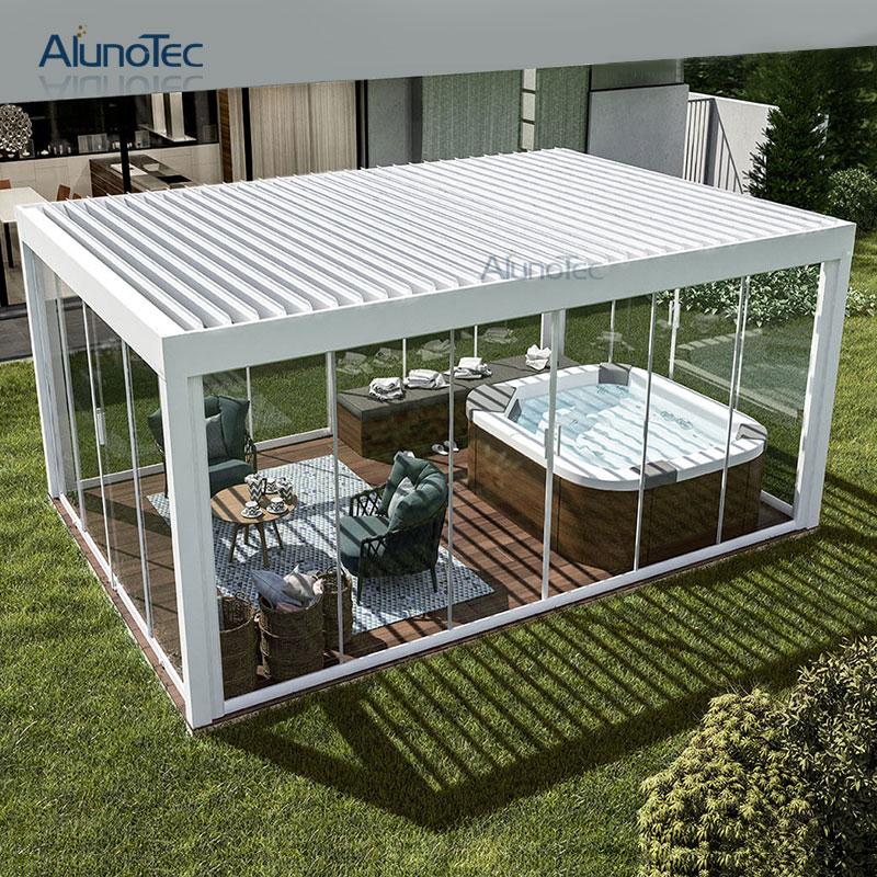 Aluminum Motorized Waterproof Pergola Covers Sunshade Louvered Roof Gazebo With Louvre