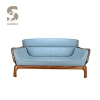 Modern top grain leather seats and sofas,blue solid wood real leather sofa
