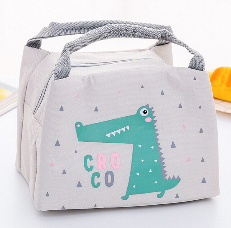 Cheap custom logo printed portable cartoon aluminum foil thermal insulated kids lunch cooler tote bags for kids