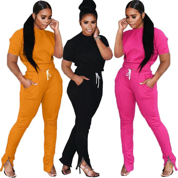 Nouveau manches courtes cordon pantalon solide mode deux pièces ensemble femmes vêtements 2020