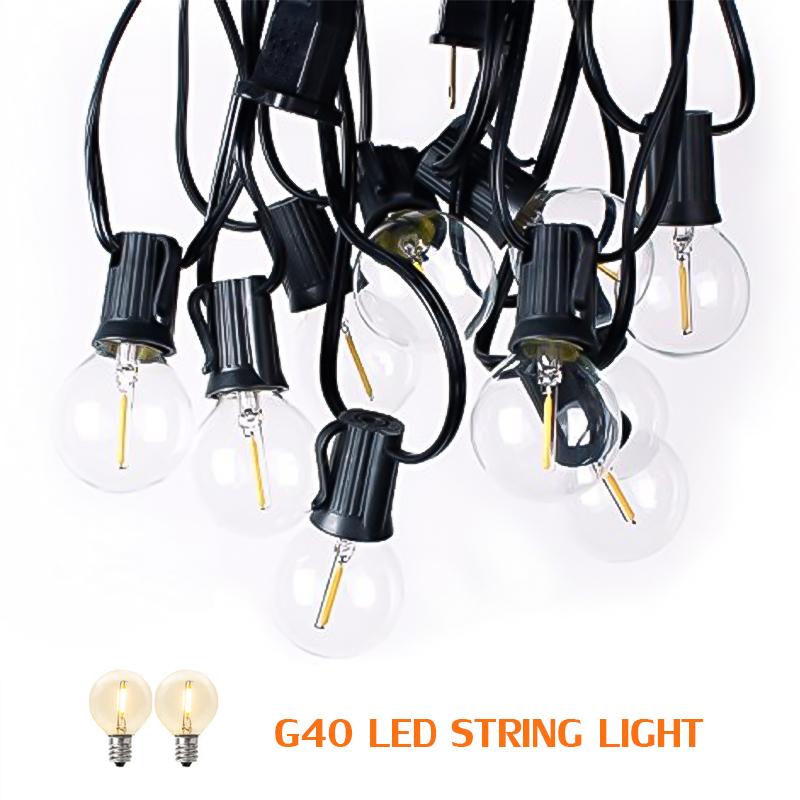 China supplier outdoor garden decoration lighting G40 LED waterproof string light