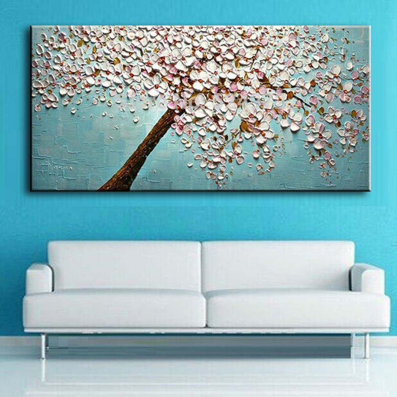 High Quality 100% handpainted oil painting Palette knife Tree 3D Flowers Paintings Home living room Decor Wall Art