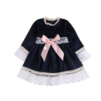 Girls dress round neck lace long-sleeved princess dress baby trend clothing