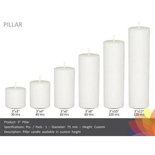 """8/"""" pilier église type Bougies longue durée combustion temps"""