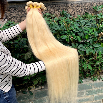 Wholesale Blonde 613 virgin Human Hair Extension,613 Cuticle Aligned Virgin Hair bundle,40 Inch Blonde hair bundles with closure