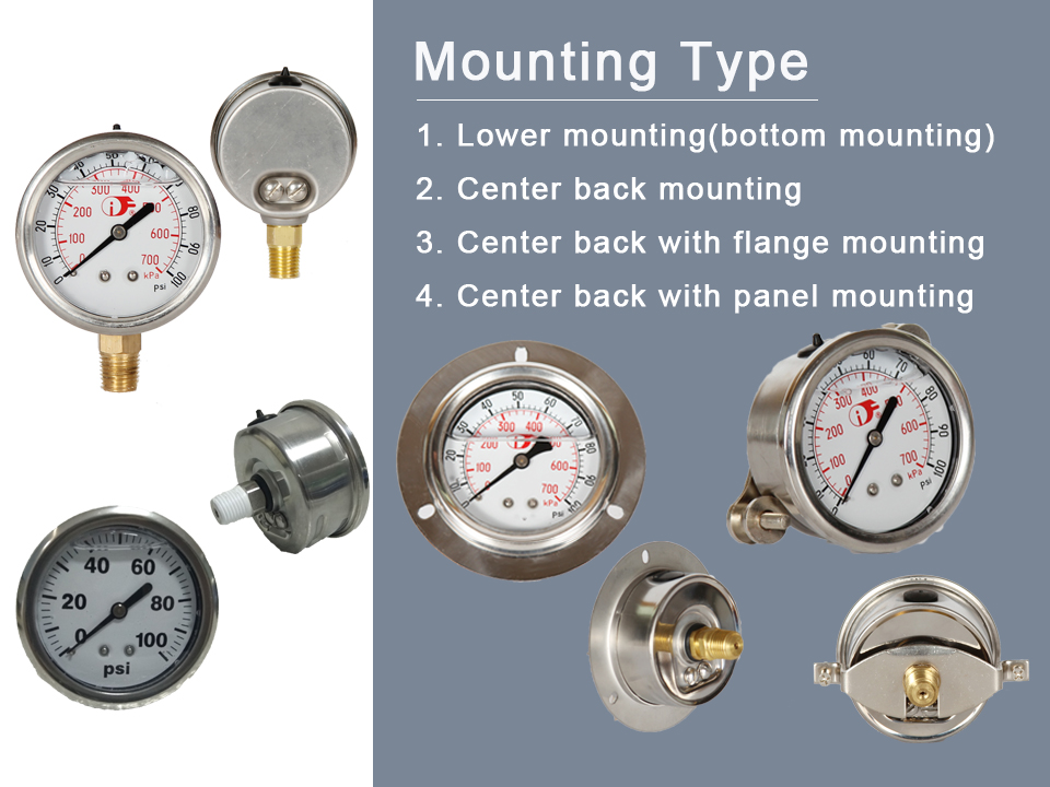 Stainless Steel Oil Filled Pressure Gauge Manometer