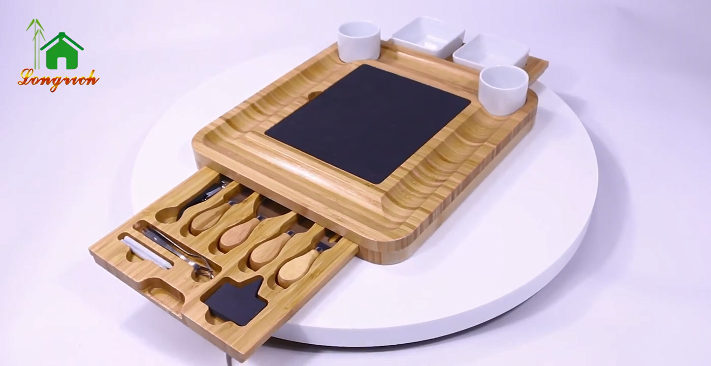 Aacaia Wood Cheese Cutting Serving Tray Board with Slate Board And Stainless Steel  Knife Set