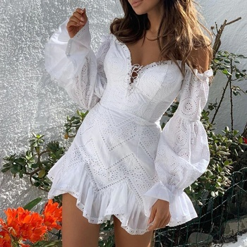 Mini Short Bodycon White Color Long Sleeve Summer Lace Women Dresses