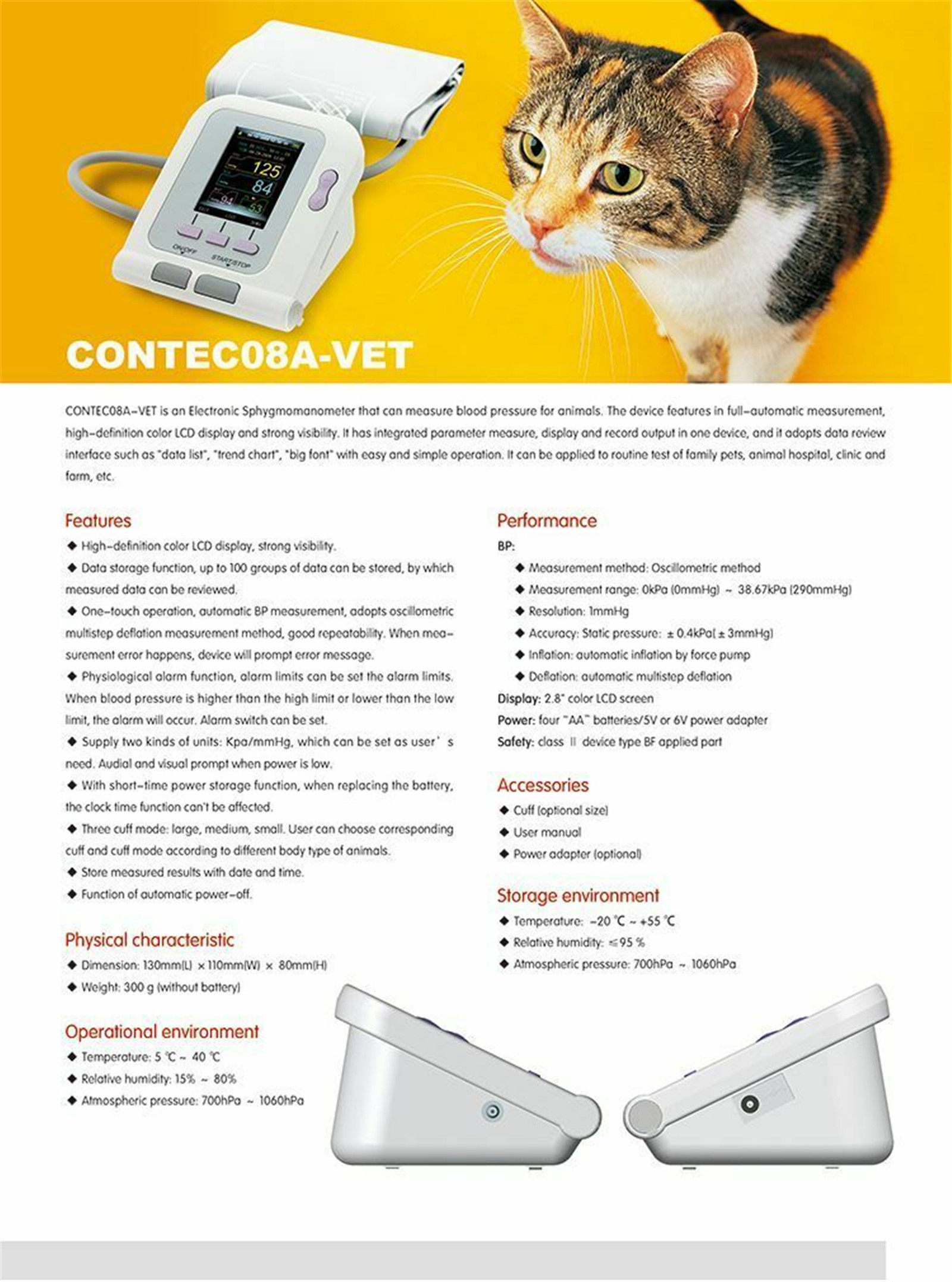 JYTOP Digital Veterinary Blood Pressure Monitor NIBP + SP02, PC Software, Dog/Cat 08A-PET