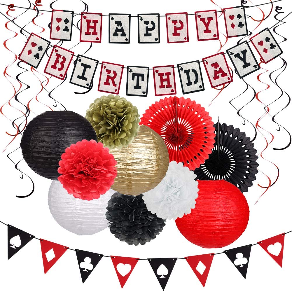 Casino Theme Party Decor Las Vegas Decorations Happy Birthday Supplies Swirls Casino Birthday
