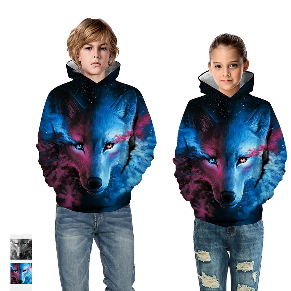 Children Fleece Hoodie 3D Printed in wolf Pullover Novelty Hooded Sweatshirts