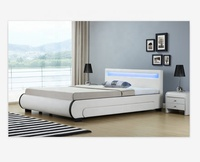 Storage Upholstered Pu Leather double size LED Bed with 2 drawers