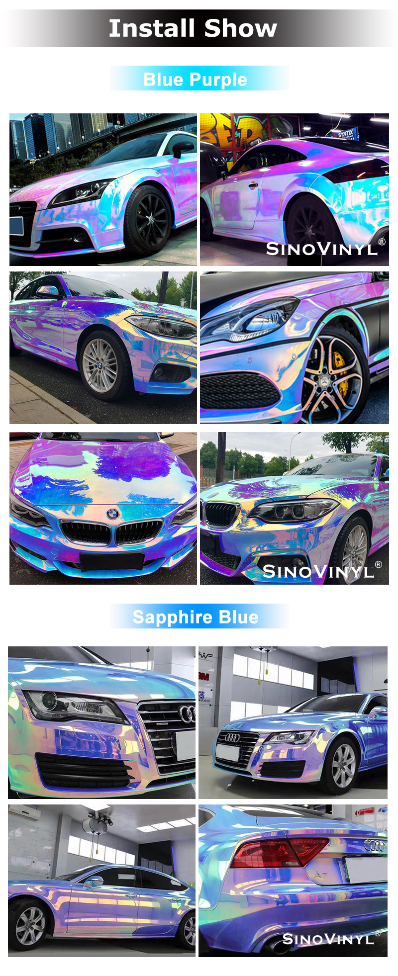 Air Bubble Free Computer Decoration Sticker PVC Fashion Car Vinyl Wrap Chrome Holographic Rainbow Hydrographic Film