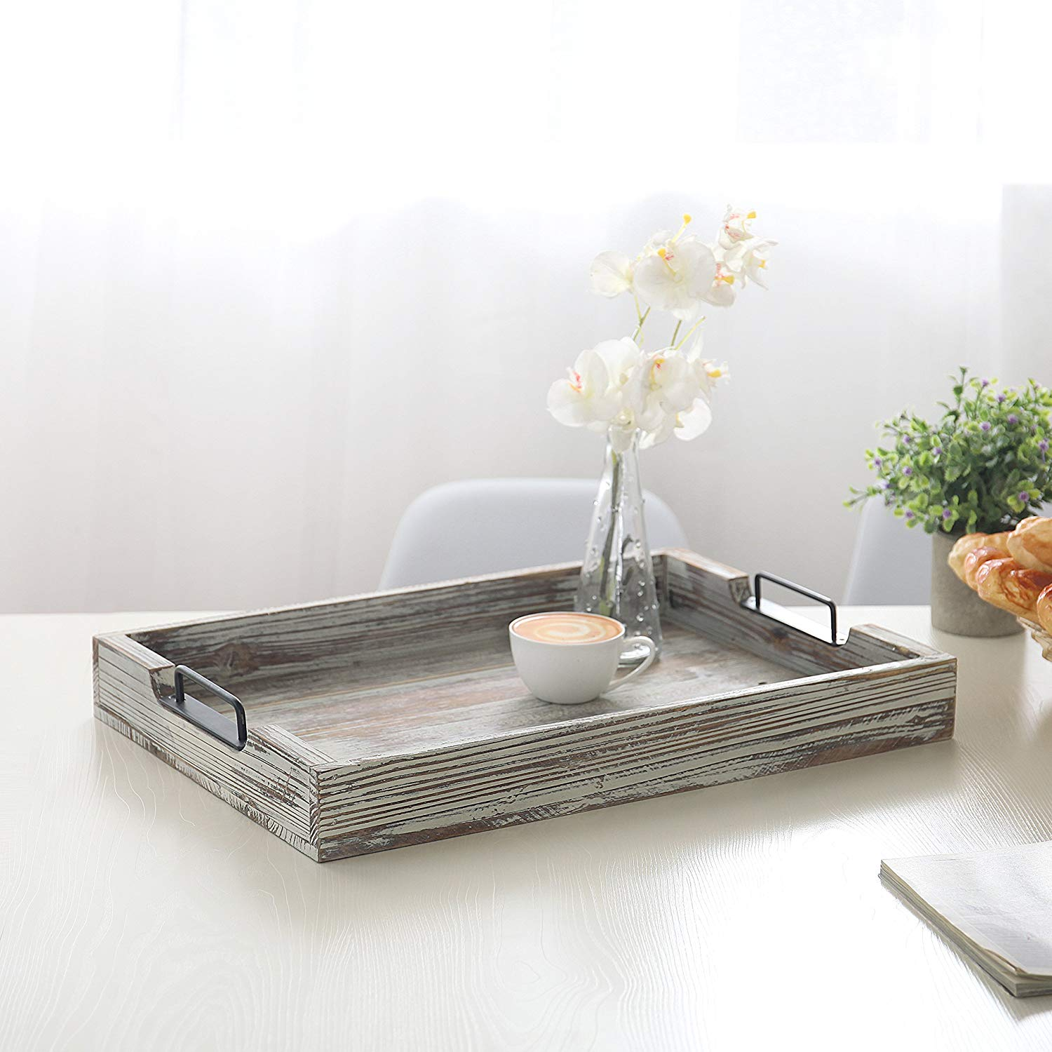 Torched Wood 20-Inch Serving Tray with Modern Black Metal Handles