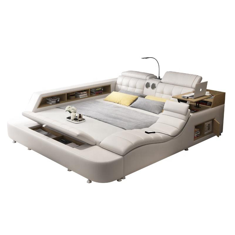 سرير عصري من الجلد الذكي حجم كبير سرير مزدوج متعدد الوظائف أثاث غرفة نوم أنيق سرير ناعم مع تخزين للتدليك بالجملة