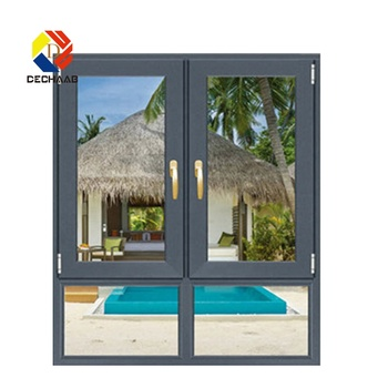 Soundproof Aluminum 8 Foot Glass Double Pane Casement Windows For Sunroom
